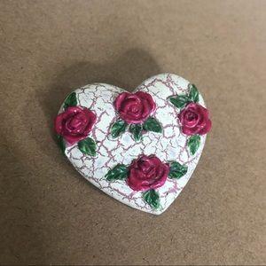 Vintage Inspired Pin Heart Roses Textured Feminine